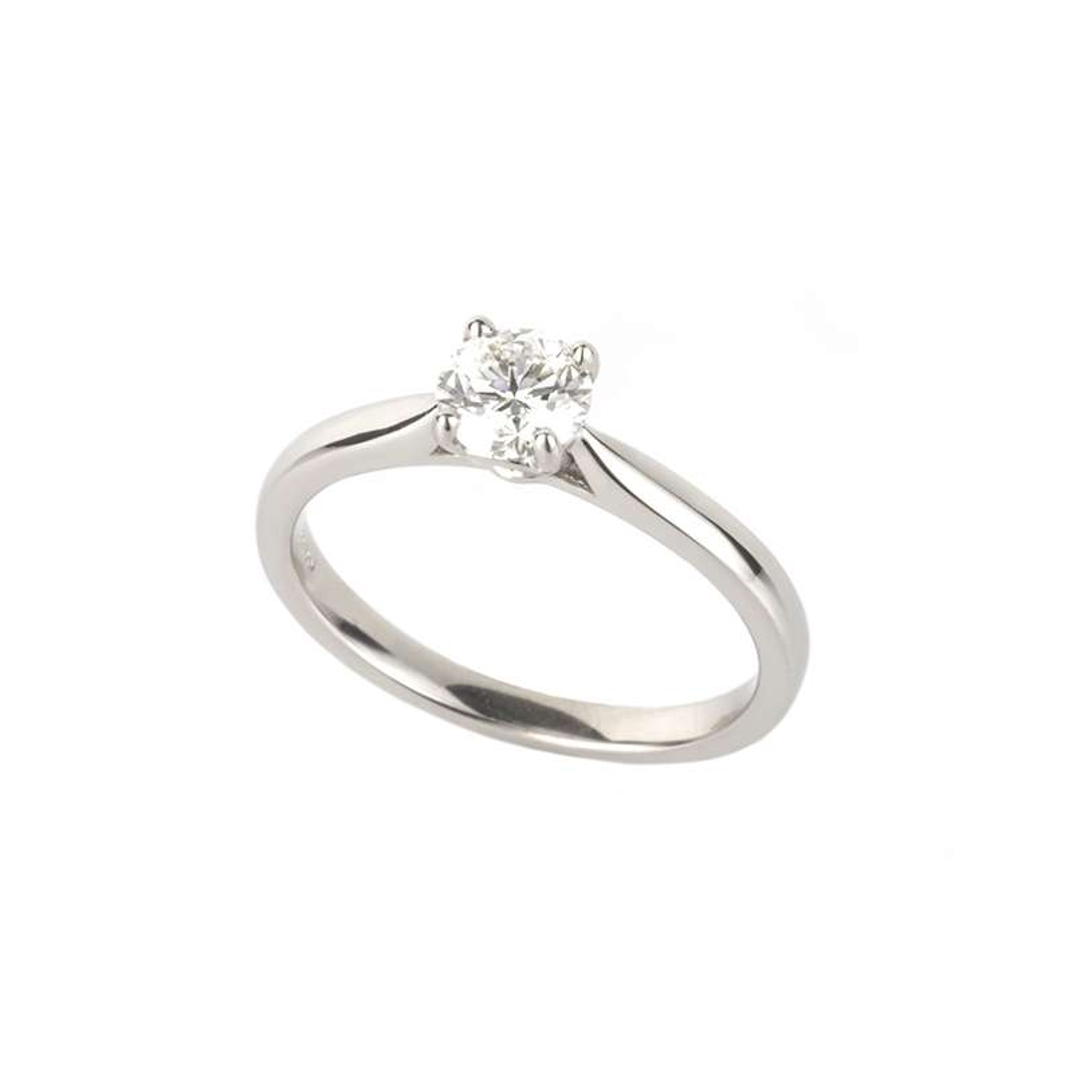 18k White Gold Round Brilliant Cut Diamond Ring 0.59ct H/VS2